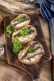 Sandwich met sprotten royalty-vrije stock foto's