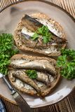 Sandwich met sprotten stock foto