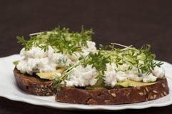 Sandwich met Tuinkers royalty-vrije stock afbeelding