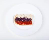 Sandwich met vlag van Rusland Stock Fotografie