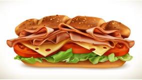Sandwich met vlees en kaas royalty-vrije illustratie