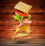Sandwich met vliegende ingrediënten Royalty-vrije Stock Afbeeldingen