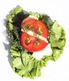 Sandwich met worst en tomaten op saladebladeren Stock Afbeeldingen
