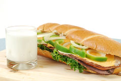 Sandwich and milk Stock Photography