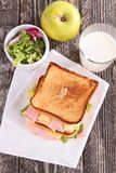 Sandwich, milk and apple Royalty Free Stock Image