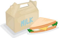 Sandwich and milk bag Stock Photo
