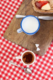 Sandwich, milk and cup of coffee Royalty Free Stock Photography