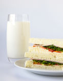 Sandwich and milk glass. Royalty Free Stock Photography