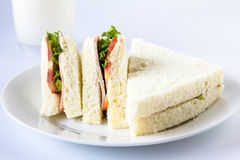 Sandwich and milk glass. Stock Photography
