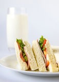 Sandwich and milk glass. Royalty Free Stock Photo