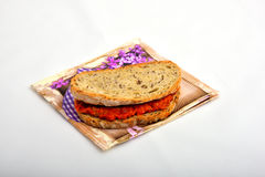 Sandwich mit dem Chutney, ajvar Lizenzfreie Stockfotos