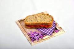 Sandwich mit dem Chutney, ajvar Lizenzfreie Stockbilder