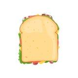 Sandwich mit Draufsicht des Speckes Stockfotografie