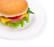 Sandwich mit einem Schinken, einem Paprika und einem Käse getrennt Stockbild