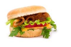 Sandwich mit einem Schinken, einem Paprika und einem Käse getrennt Stockfotografie