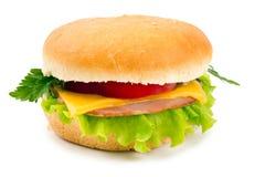 Sandwich mit einem Schinken, einem Paprika und einem Käse getrennt worden Stockbilder
