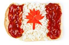 Sandwich mit einer Markierungsfahne des Kanadas Lizenzfreies Stockbild