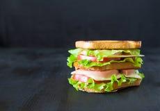 Sandwich mit Fleisch, Käse und Tomaten auf einem schwarzen Holztisch Lizenzfreie Stockbilder