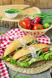 Sandwich mit gebratenem Fleisch und Gemüse Stockfoto