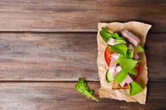 Sandwich mit geräuchertem Fleisch Stockbild
