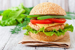 Sandwich mit Huhn Stockfotos