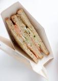 Sandwich mit Lachsnahaufnahme Stockfoto