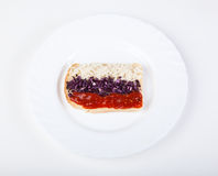Sandwich mit Markierungsfahne von Russland Stockfotografie
