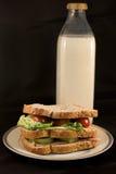 Sandwich mit Milch Stockbilder
