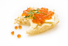 Sandwich mit rotem Kaviar Stockbilder