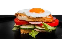 Sandwich lokalisiert auf Schwarzweiss-Hintergrund Stockfoto