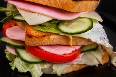 Sandwich lokalisiert auf schwarzem Hintergrund Stockbilder