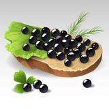 Sandwich mit schwarzem Kaviar Stockbild