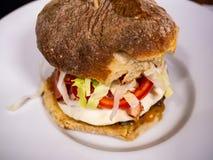 Sandwich mit selbst gemachtem knusperigem gebackenem Brot und Burger lizenzfreie stockfotografie