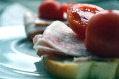 Sandwich mit Speck und Tomaten lizenzfreies stockfoto