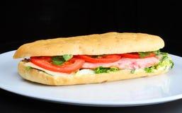 Sandwich mit Tomaten und der Hühnchenbrust Stockfotografie