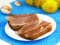 Sandwich mit Trockenfleisch Stockfotos