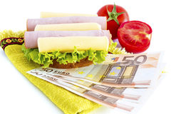 Sandwich and money Royalty Free Stock Photos