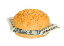 Sandwich with money Royalty Free Stock Photos