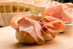 Sandwich with Mortadella Royalty Free Stock Photography