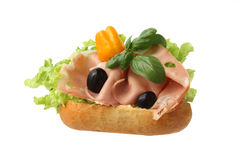 Sandwich with mortadella Royalty Free Stock Images