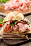 Sandwich with Mortadella and red peppers Stock Photos