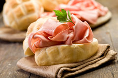 Sandwich with Mortadella Sausage Royalty Free Stock Photo