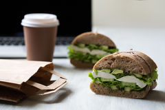 Sandwich with mozzarella. Avocado, cucumber, salad and pesto Stock Images