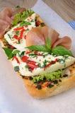 Sandwich with mozzarella and jamon Stock Photo