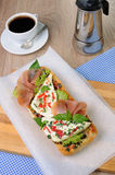 Sandwich with mozzarella and jamon Royalty Free Stock Images