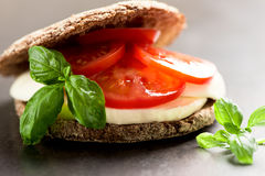 Sandwich with mozzarella tomatoes and rye bread Stock Photo