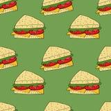 Sandwich naadloos patroon Hand getrokken illustratie Heldere illustratie voor menuontwerp, stof en behang royalty-vrije illustratie