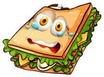 Sandwich with nervous face. Illustration Royalty Free Stock Image