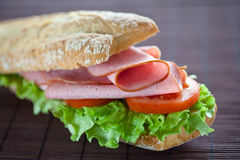 Sandwich Of Ham Lettuce And Tomato Royalty Free Stock Photography