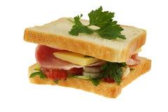 Sandwich op wit stock afbeeldingen
